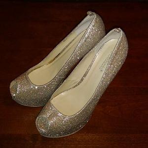 Sparkling Champagne Color High Heels Sz 10